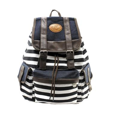 Brush Egg Troos Bag Korea Style Casual Stripe A0471 Tas Ransel