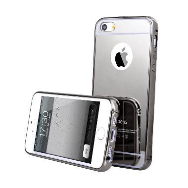 Bumper Mirror Alumunium Metal Sliding Hardcase Casing for iPhone 4/4S/4G - Hitam