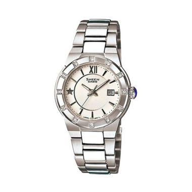 Casio Sheen SHE-4500D-7ADR Silver Putih Jam Tangan Wanita