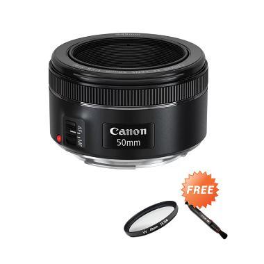 Canon EF 50mm f/1.8 STM Lensa Kamera + Free UV Filter 49mm + Lenspen