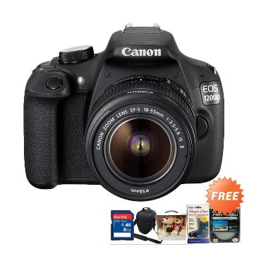 Canon EOS 1200D Kamera DSLR [18 MP/Kit 18-55 IS] + Free SD 8GB + Filter + Tas + Eos Couple Bear + Screen Protector