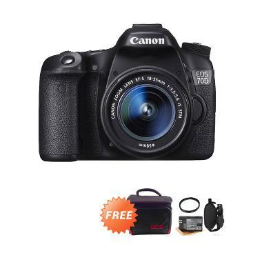 Canon EOS 70D Lens Kit 18-55mm STM Kamera DSLR [20 MP/WiFi] + Free Baterai Kamera LP-E6 + Camera Srist Strap Leather + UV Filter 58mm + Tas Kamera BX40 Logo EOS