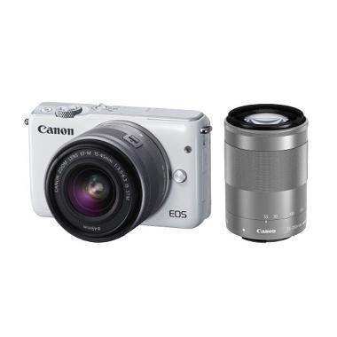 Canon EOS M10 EF-M 15-45mm & 55-200mm Kamera Mirrorless - Putih