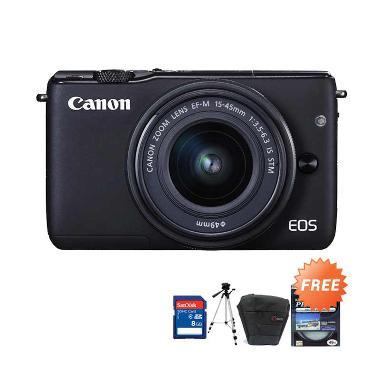 Canon EOS M10 Kit 15-45mm - Hitam + ...  + Tas + Filter Protector