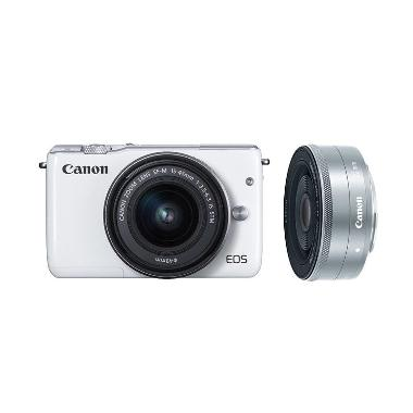 Canon EOS M10 KIT 15-45mm + 22mm Kamera Mirrorless - Putih
