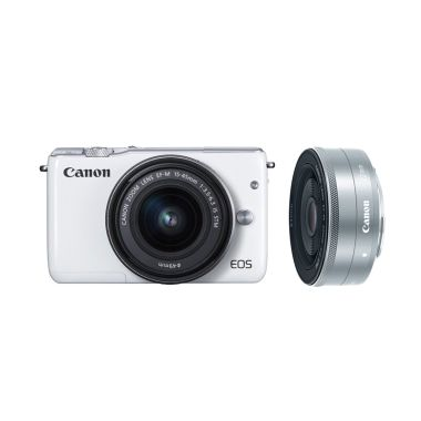 Canon EOS M10 Kit EF-M 15-45mm White Kamera Mirrorless + Canon 22mm