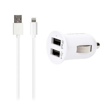 Capdase Pico K2 Dual USB Car Charger with Lightning Cable [5V/2.4A]