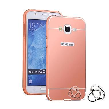 Case Aluminium Metal Bumper Mirror Backcase Rose Gold Hardcase Casing For Samsung Galaxy J1 Ace J110