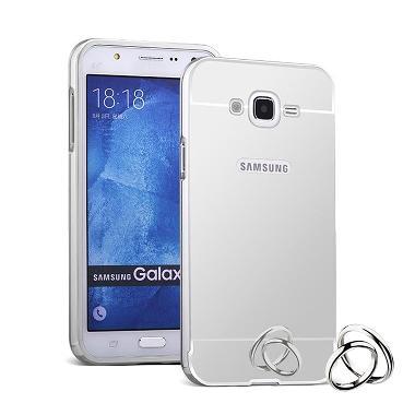 Case Aluminium Metal Bumper Mirror Backcase Silver Hardcase Casing For Samsung Galaxy J2 J200