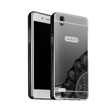 Case Bumper Metal Back Case Sliding Casing for Oppo F1 - Black