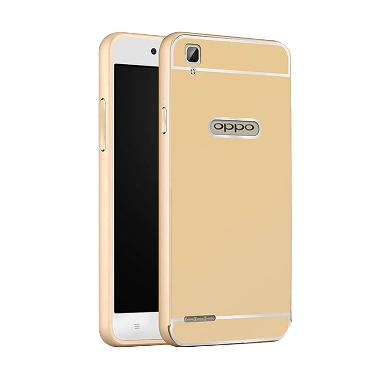 Case Bumper Metal Back Case Sliding Casing for Oppo F1 - Gold