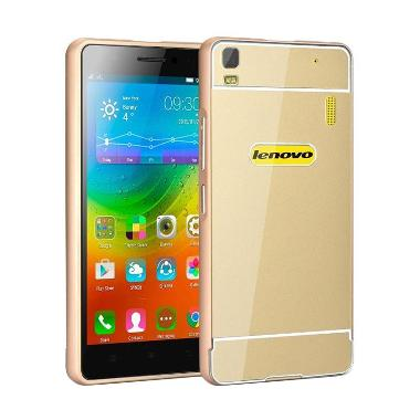 premium selection 1971e 78443 Case Bumper Metal Back Sliding Casing for Lenovo A6000 - Gold