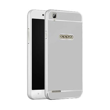 Case Bumper Metal Sliding Backcase Casing for Oppo F1 Plus - Silver