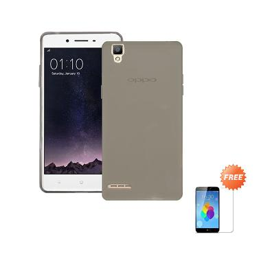 Case Ultra Thin Softcase for Oppo F ... abu + Free Tempered Glass
