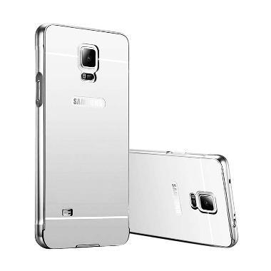 Case Mirror Aluminium Bumper Casing for Samsung Galaxy Note 4 - Silver