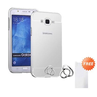 Case Mirror Aluminium Bumper Casing for Samsung Galaxy J3 - Silver + Free Tempered Glass