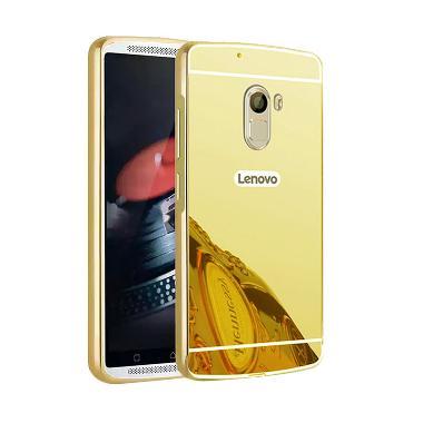 Case Mirror Aluminium Bumper with Mirror Slide Casing for Lenovo K4 Note A7010 - Gold