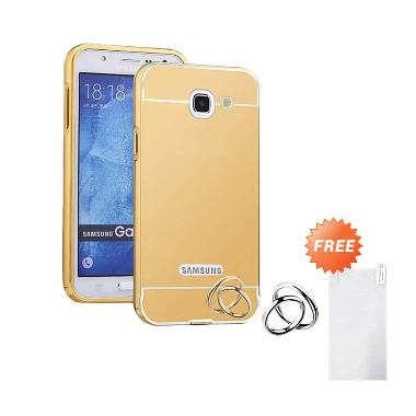 Case Aluminium Bumper Mirror Slide Casing for Samsung Galaxy Note 2 - Gold + Free Tempered