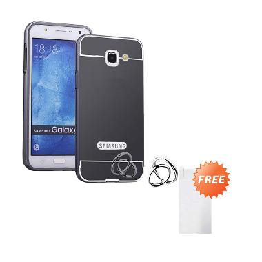 Case Aluminium Bumper Mirror Slide Casing for Samsung Galaxy Note 2 - Black + Free Tempered