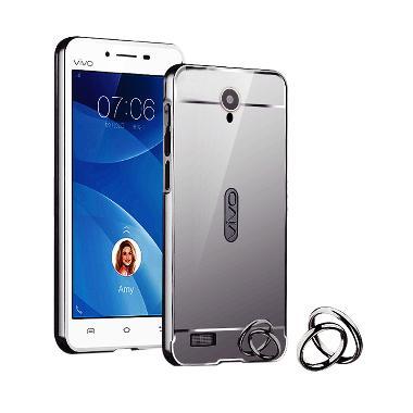 Case Mirror Aluminium Bumper With Mirror Slide for Vivo y22 - Hitam