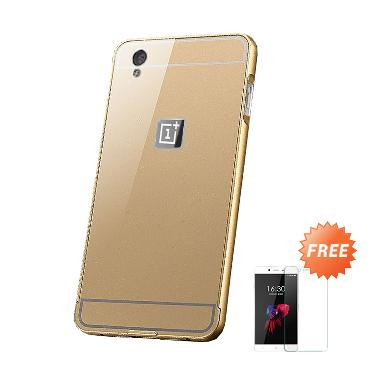 Case Mirror Aluminium Bumper with Slidding for One Plus X - Gold + Free Screen Guard