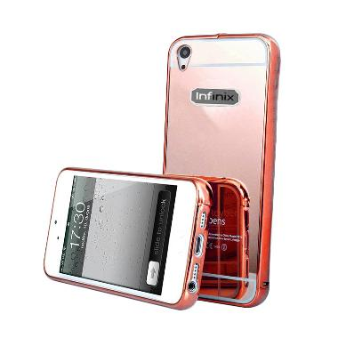 Case Mirror Bumper With Sliding Casing for Infinix Hot 2 X510 - Rose Gold