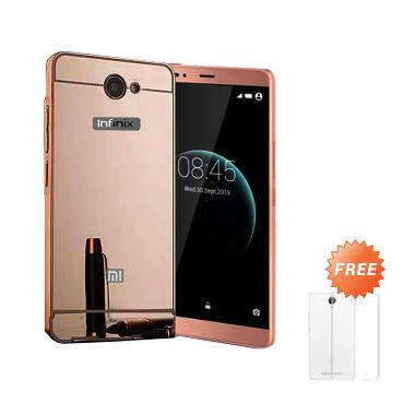 Case Mirror Bumper Sliding Casing for Infinix Note 2 X600 - Rose Gold + Free Ultra