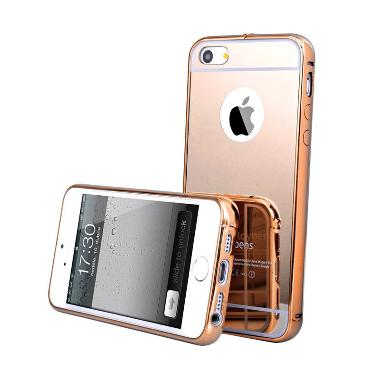 Case Aluminium Bumper Mirror Slide Casing for iPhone 5G - Rose Gold
