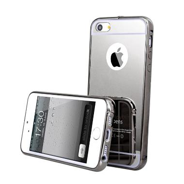 Case Mirror Bumper With Sliding Casing for Iphone 6S - Hitam