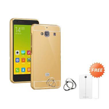 Case Mirror Bumper with Sliding Casing for Xiaomi Redmi 2 - Gold + Free Ultrathin