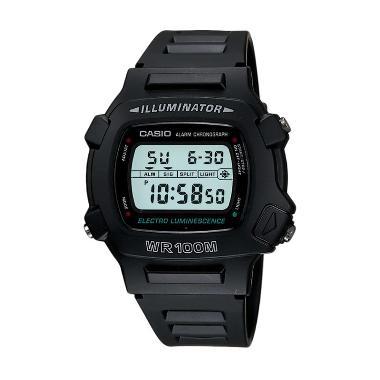 CASIO Illuminator Alarm Dual Time W740-1VS Black Jam Tangan Pria