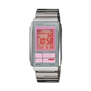Casio Ladies Futurist LA-201W-4A2UDF Silver Pink Jam Tangan Wanita