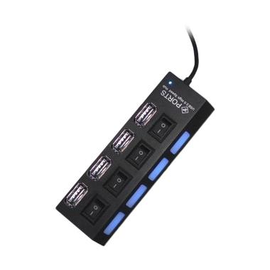 USB Hub Saklar 4 Port Black with LED