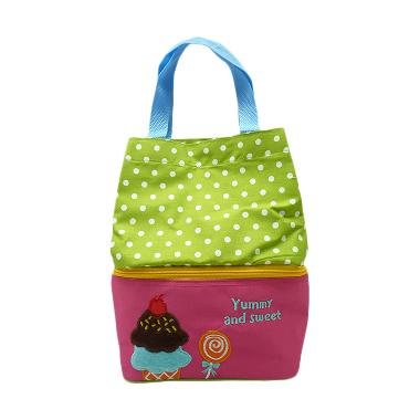 Char & Coll Tas Makan Anak Bento Ice Cream Lunch Bag - Pink Hijau