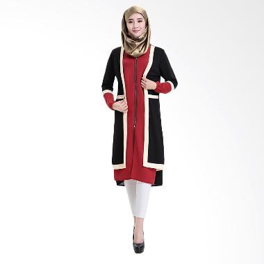 Chloe's Clozette MD 16 Baju Muslim Dress Gamis - Hitam Merah