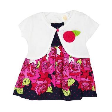 Chloebaby Shop F844 Dress Cardigan Anak - Merah Muda