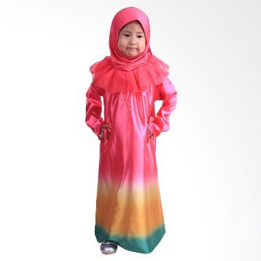 Chloe Babyshop F561 Rainbow Jilbab Gamis Anak - Pink