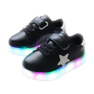 Chloe Babyshop S168 Lampu Star Sepatu Anak - Black