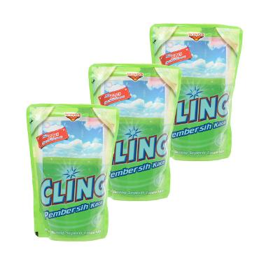 Cling Glass Cleaner Apel Pouch [425 mL x 3 Pcs]
