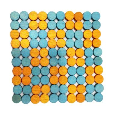 Cooks Habit Wooden Trivet Round Block Blue & Orange
