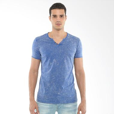 CVNL Buttoned Slimfit V Neck Biru Tshirt Kaos Pria