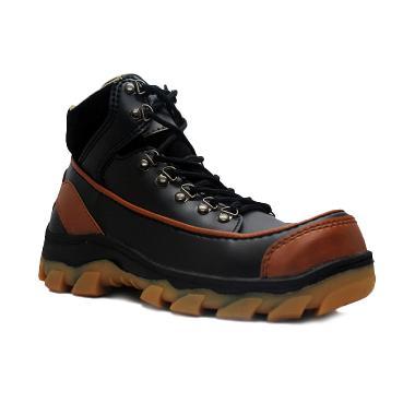 Cut Engineer Safety Boots Iron Apple Leather Sepatu Pria - Black