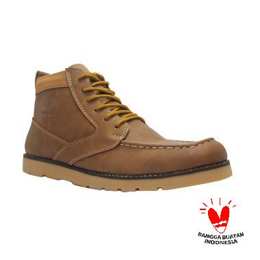 D-Island Shoes Boots Best Quality Leather Sepatu Pria - Brown