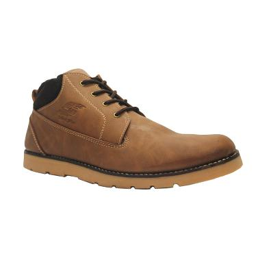 D-Island Shoes Boots Sole Rubber To ... ather Sepatu Pria - Brown