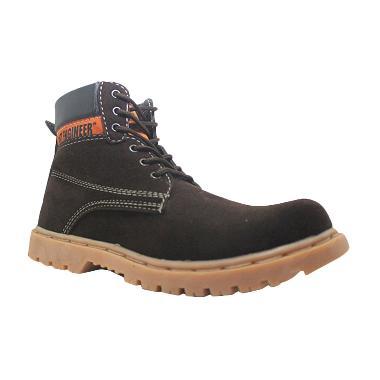 Cut Engineer Iron Stronge Boots Safety Cokelat Tua Sepatu Pria