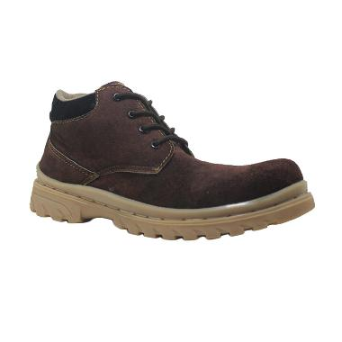 Cut Engineer Low Boots Classic Safety Suede Brown Sepatu Pria