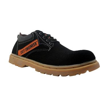 Cut Engineer Safety Rubber Low Boots Leather Hitam Sepatu Pria