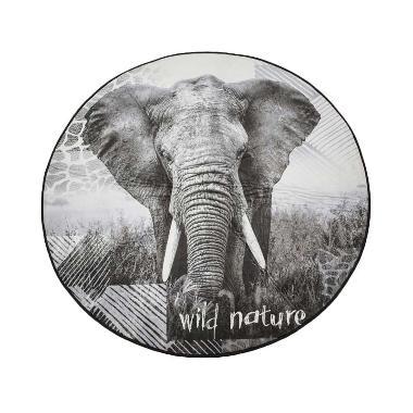 Dixon Bulat Motif Hewan Gajah Keset - Abu Abu [120 x 120 cm]