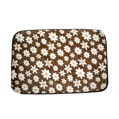 Dixon Motif Campur Brown Flower Keset Busa - Coklat [40x60 cm]