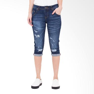 People's Denim Ladies Jeans Raven RU Ripped Slim Fit - Biru